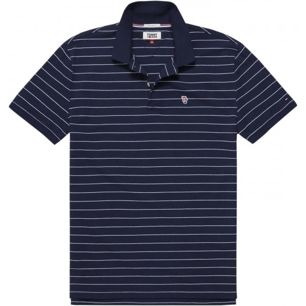 Polo rayé manches courtes homme Tommy Jeans - Bleu Tommy Jeans Homme